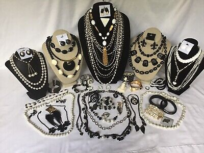 $ CDN24.99 • Buy Vintage To Now Black & White Costume Jewelry Lot Necklace Rings Necklace Earring