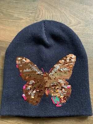 £4 • Buy H M Girls Navy Reversible Sequin Butterfly Woolen Hat Age 3-4 Years Never Worn