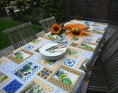 £26.50 • Buy Tablecloth Non-Iron 150x300 CM Olives Blue Yellow White From France Provence