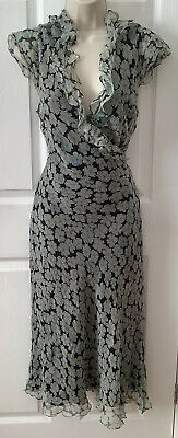 £19.99 • Buy Phase Eight 100% Silk Size 14 Maxi Dress, Crepe Style Ruffle Edge Crossover Bust