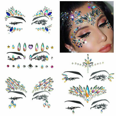 £1.29 • Buy Festival Rave Party Body Face Make Up Adhesive Gems Glitter Jewel Tattoo Sticker