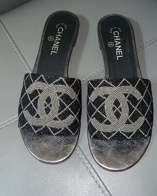 AU460.56 • Buy Authentic Black Chanel Beaded Logo Slides Flats Mules   Sandals 41 Italy Nice