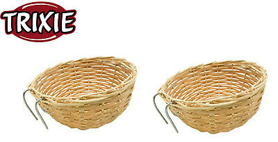 £6.98 • Buy 2 Pack Trixie Wicker Woven Canary Finch Hanging Nest Pan Breeding Baskets 5620