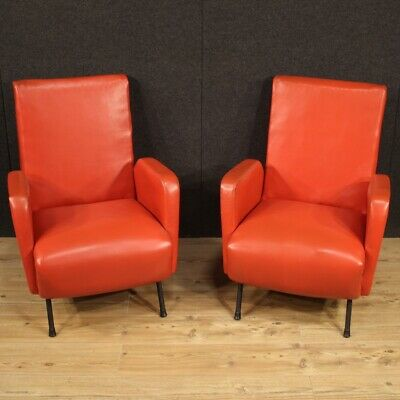 AU3678.20 • Buy Pair Of Armchairs Chairs Furniture IN Artificial Skin Red Modern Vintage Design