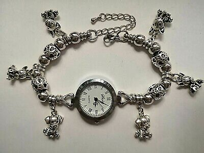 £10.99 • Buy Handmade DOG /PUPPY Charm Bracelet Watch With 10 Silver Charms
