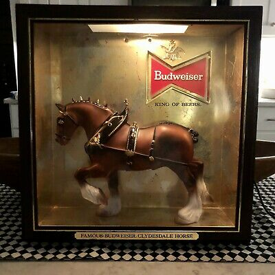 """$ CDN93.15 • Buy Vintage Budweiser Famous Clydesdale Horse Shadow Box Sign Advertising 13.5""""x13.5"""