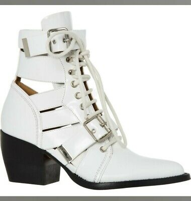 £225 • Buy New - Bnib Chloe  Rylee  White Lace Up/cut Out Leather Boots Uk 5 Eur38 Rrp £900