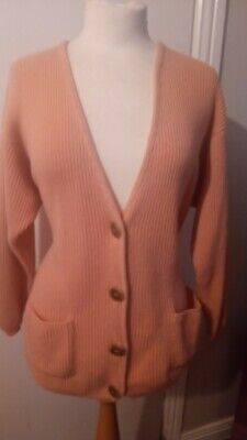 £80 • Buy Vintage N Peal Double Cashmere Ribbed Cardigan 2 Pockets - Uk 16 - Pink