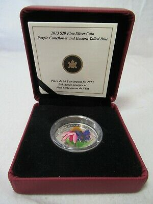 $87.06 • Buy 2013 Canada $20 Purple Coneflower With Venetian Glass Butterfly 1oz Silver Coin
