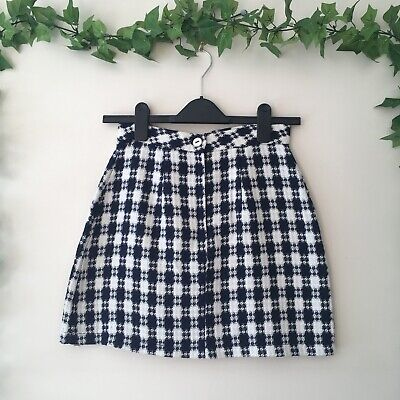 £8 • Buy Urban Outfitters Urban Renewal Dogtooth Check Navy Blue White Mini Skirt UK 6/8