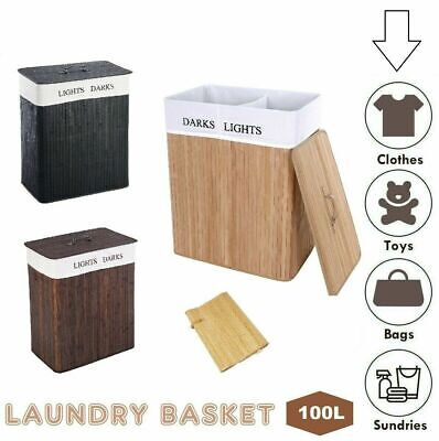 £19.99 • Buy Laundry Hamper Bamboo Basket Clothes Storage Organizer Bag Lid Double OR Single