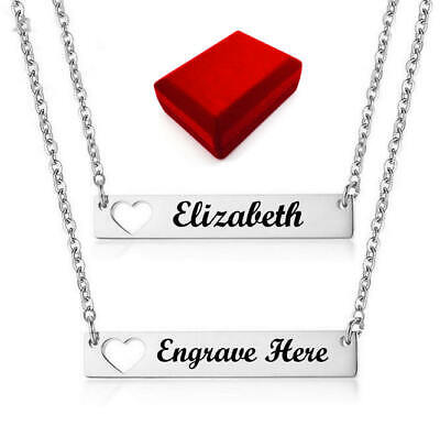 $ CDN25.02 • Buy Silver Tone Personalized Steel Heart Name Plate Necklace Engraving Pendant #1021