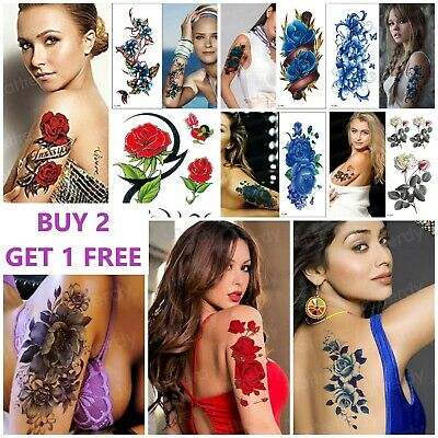 £2.99 • Buy REALISTIC Flowers & Roses Love Temporary Tattoos Womens Girls Stickers Arm Leg