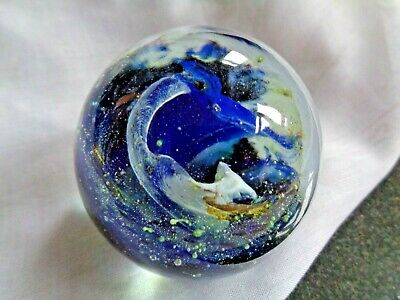 £9.99 • Buy Early ISLE Of WIGHT Crystal Glass SEA & SAND SWIRL Paperweight Flame Pontil