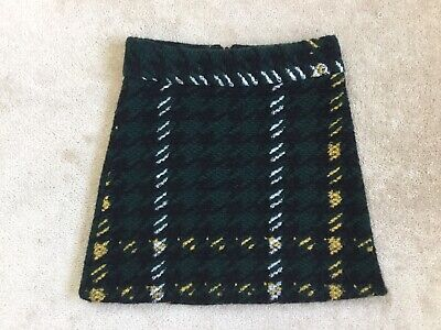 £4.99 • Buy TOPSHOP Wool Checked Houndstooth A-Line Skirt Green Black White Yellow Size UK8