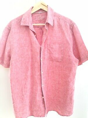 £4.99 • Buy Red Chambray Linen Shirt Large