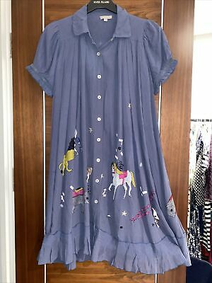 £14.99 • Buy Pyrus Silk Chiffon Circus Animals Embroidery Flared Button Up Dress Size 10