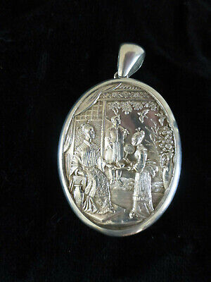 £375 • Buy Large Antique Victorian Chinese Aesthetic Sterling Silver Locket For Collar Rare