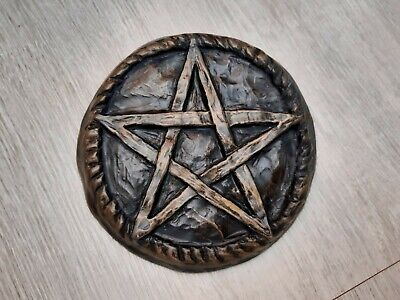 £7.50 • Buy Pentacle Wall Plaque Pagan Wicca Witch Pentagram (gold)