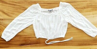£2.99 • Buy White Cropped Top, Peasant Sleeve, Elasticated Waist, Size 14 By Primark