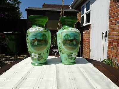 £55 • Buy 2 Large Victorian, Antique Hand Painted PAIR Of Green Opaline Glass Vases