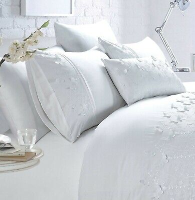 £32.95 • Buy Embroidered Lucky Butterfly Duvet Cover Quilt Bedding Set Papillon White Double