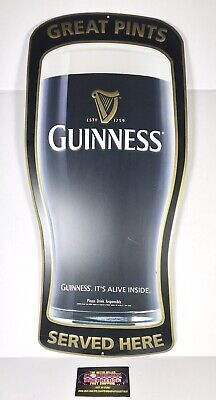 """£64.86 • Buy Guinness Irish Stout Great Pints Served Here 2007 Metal Beer Sign 24x11"""" - RARE!"""