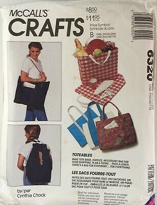 £10.50 • Buy McCalls 6320 Tote Square Base Bag Back Pack Hold All Overnight New Uncut Pattern
