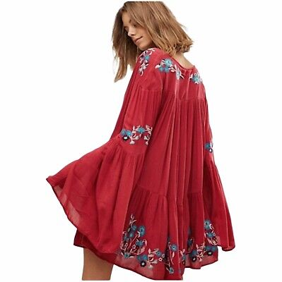 £35.39 • Buy Free People Oversized Embroidered Tunic Top Dress Sz L Red Burgundy Boho Bell
