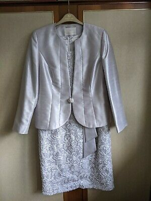 £25 • Buy ~ JACQUES VERT ~ Grey Dress And Jacket Size 12 14 Mother Of The Bride