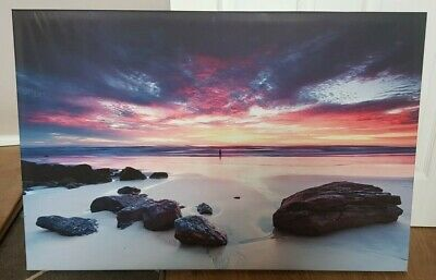 £10 • Buy Sunset Beach/rock/sea CANVAS PICTURE LARGE 3' X 2' - Burntwood, Staffs