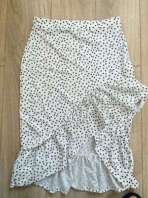 £3.10 • Buy Pretty Little Thing Size 14 Polka Dot Pencil Skirt With Ruffles