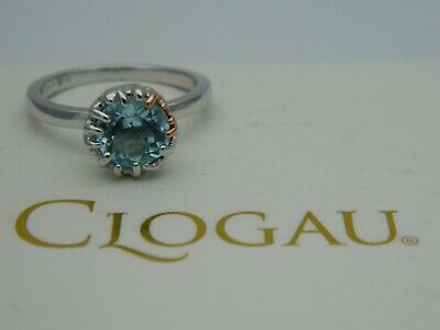 £75 • Buy Clogau Silver & 9ct Rose Gold Salacia Blue Topaz Ring RRP £119.00 Size P