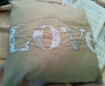 £0.99 • Buy Love Cushion And Cover New 18 X 18 Inch Gold And White