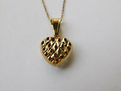 £31.95 • Buy 9ct Yellow Gold Puff Heart Pendant With A Gold Trace Chain