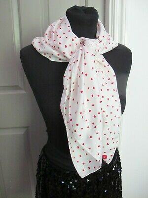 £9.99 • Buy Large Italian Pure Silk Red Polka Dots On White Square Scarf Hand Rolled Edges