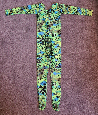 £12.99 • Buy Green Print Long Sleeved Shiny Lycra Spandex Dance Catsuit Girls Size 1 Age 5-6