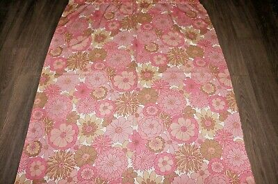 £19.99 • Buy Vintage 60s 70s Pink Beige Bold Flower Print Cotton Fabric Length / Curtain