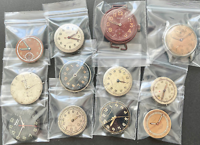 $ CDN26.77 • Buy Lot Of 12 Military Style Men's Watches Movements Mechanical Running Parts Swiss