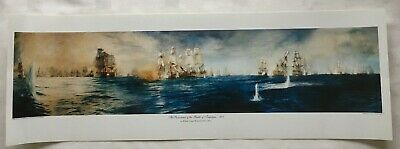 £20 • Buy Lithographic Colour Print 'Panorama Of The Battle Of Trafalgar' By W L Wyllie