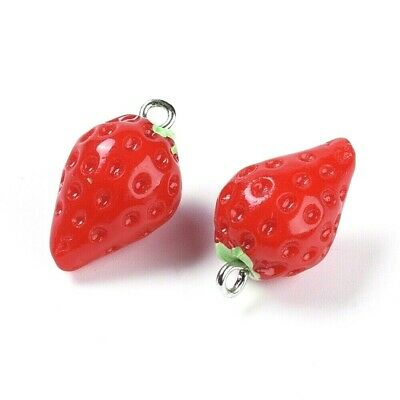 £4 • Buy Strawberry Charm Pendant Red Resin Pack Of 6