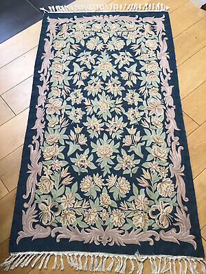 £49.99 • Buy Embroidered Wool CHAIN STITCH Crewel Work Indian RUG Blue Floral 62 X 35 Inches