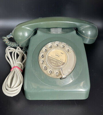 £9.99 • Buy Old Vintage GREEN BT GPO 746F Rotary Dial Telephone Bell Ringer Working RETRO