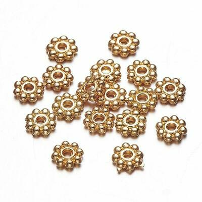 £2.25 • Buy 100pcs GOLD PLATED Plated Daisy Spacer Beads 5mm Diameter GP