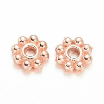 £2.25 • Buy 100pcs Rose Gold Plated Daisy Spacer Beads 5mm Diameter