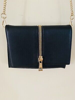 AU10 • Buy Forever New Womens Bag Small Size Black Feature Zip Detachable Gold Chain Strap