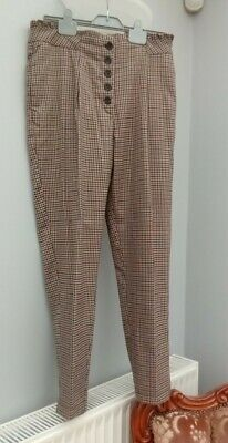 £2.99 • Buy Ladies Smart  Beige Brown Black Dogtooth Check Tapered Leg Trousers Size 12 NEW