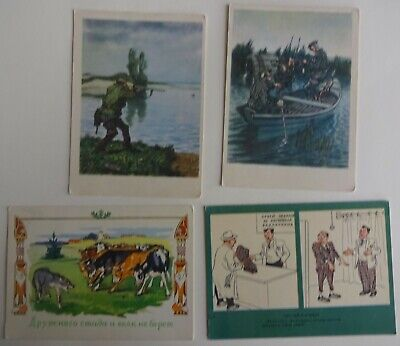 £5.45 • Buy  4 Postcards Of The USSR 1950s-1960s. Humor. Hunting, Cows, Wolf