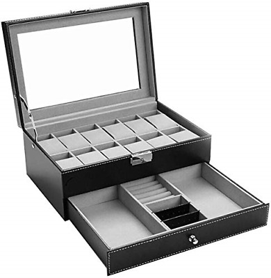 £25.77 • Buy Watch Box-12 Slots Mens Watch Organizer Faux Leather Jewelry Display Pillow