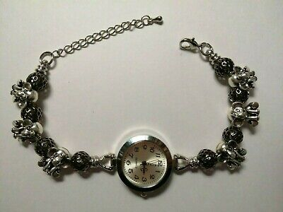 £10.99 • Buy Handmade Silver ELEPHANT Watch Bracelet With 6 Silver  Charms